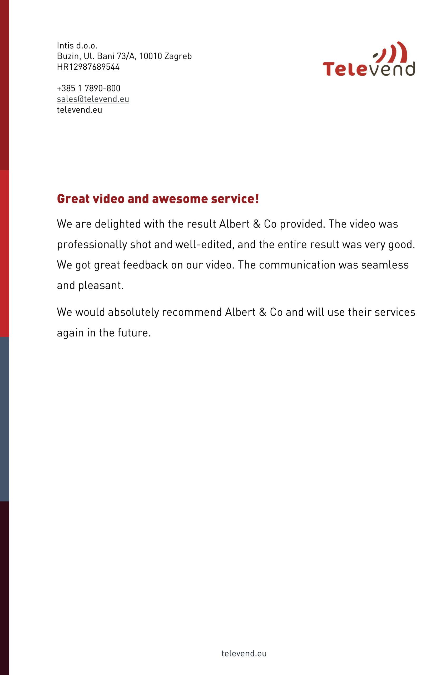 Albert& Co отзыв от компании Televend (Zagreb)